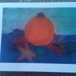 fall pumpkin with leaves card